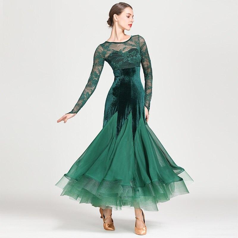 New Black Green Lady Ballroom Dancing Dress Lace Long