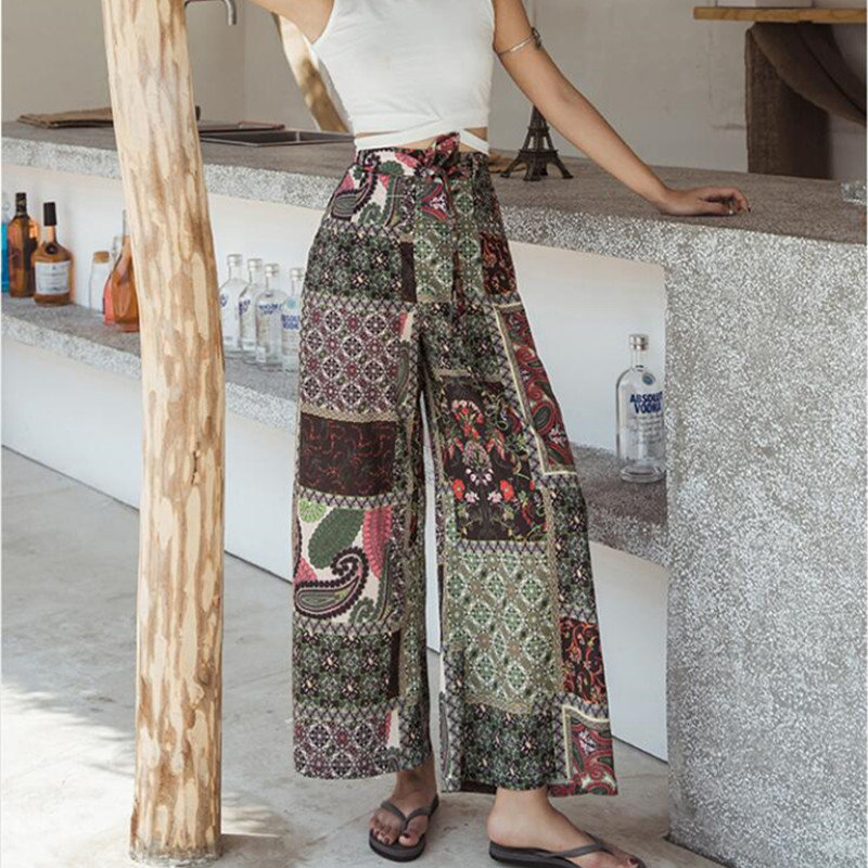 Real shot seaside holiday Thai casual   pants   2019 new fashion chiffon beach   pants   bohemian   wide     leg     pants