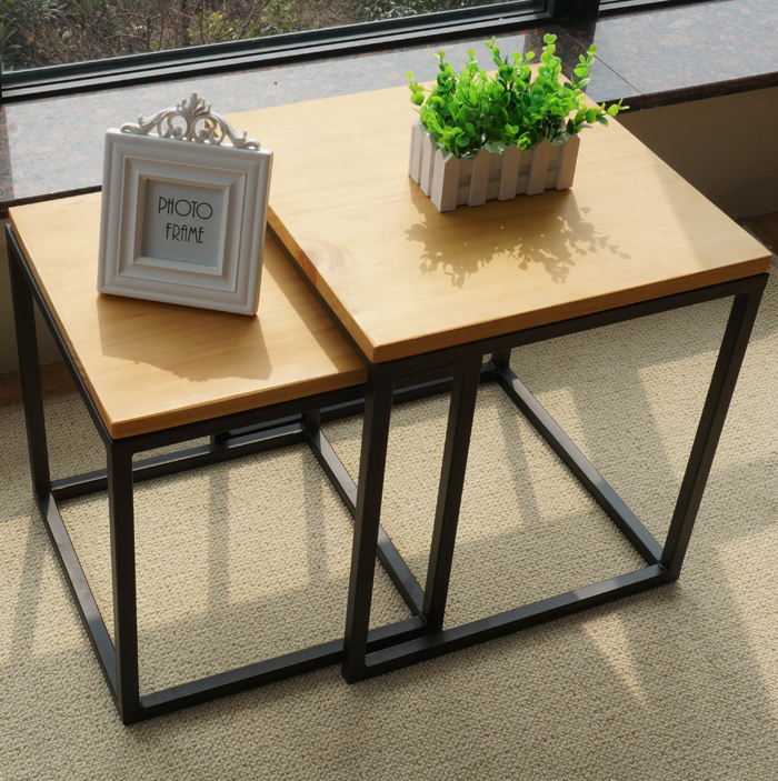 Small Apartment Continental Square Office Coffee Iron Vintage Wood - Small square office table