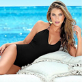 2016 New Sexy Women Swimsuit Lady Sexy V-Neck One Peice Swimsuit Padded Black Monokini Bikini Swimwear Beach Hot Sell Navy Suit