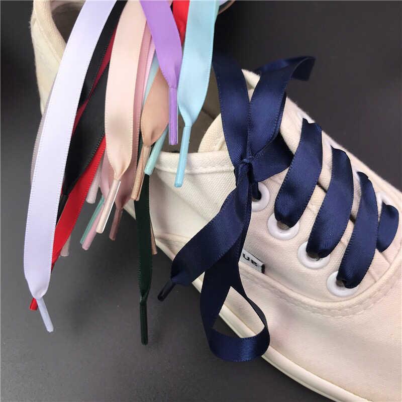 ใหม่ 1 คู่ 1 ซม.กว้างซาตินริบบิ้นผ้าไหม 80/100/120/150 ซม.ความยาวรองเท้าผ้าใบกีฬารองเท้า Lace ผู้ใหญ่เด็ก laces S2