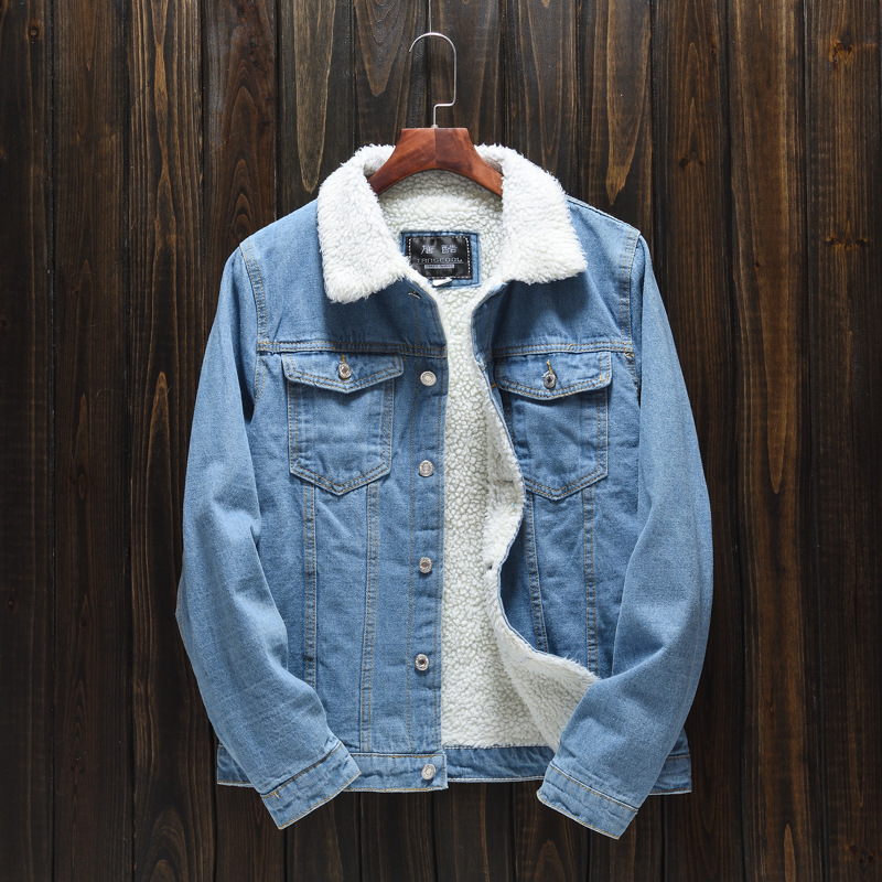 HO  Winter   2020 Men With Lamb Flocking Light Denim Jacket Cultivate One 's Morality And Thickening A Warm Jacket