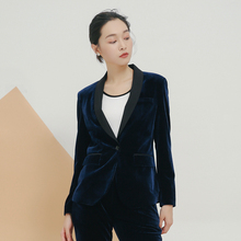 High quality black velvet fashion Lady office girl jacket female casual 2018 new spring and autumn short paragraph gold