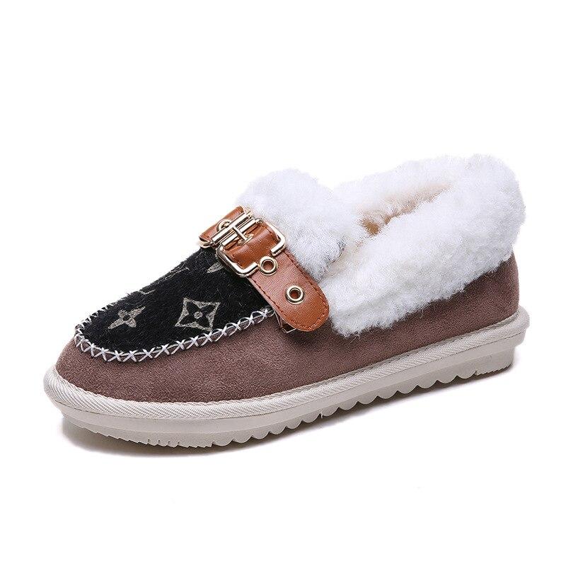 0727c386 Ocasionales Guisantes Zapatos Nieve Corto 2018 Tobillo Plataforma Botas De  Negro Invierno Las Mujeres Mujer Piel ...