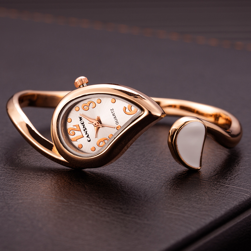 Luxury Rose Gold Bangle Bracelet Women Watches Fashion Heart Stainless Steel Wristwatch Ladies Casual Watch Valentine's Day Gift