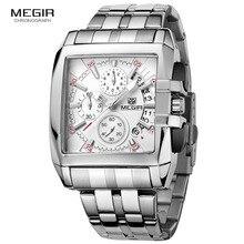 MEGIR heiße mode herren business quarz uhren luxus edelstahl armbanduhr für mann leuchtende drei augen uhr für male2018