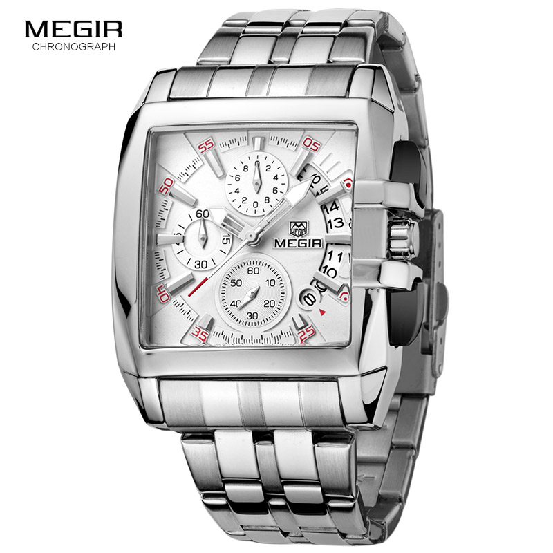 MEGIR Hot Fashion Men's Business Quartz Watches Luxury Stainless Steel Wristwatch For Man Luminous Three-eyes Watch For Male2018