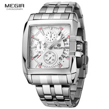 MEGIR hot fashion mens business quartz watches luxury stainless steel wristwatch for man luminous three eyes watch for male2018