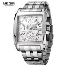 MEGIR חם אופנה גברים של עסקים קוורץ שעונים יוקרה נירוסטה שעוני יד זוהרת גבר שלושה עיני שעון עבור male2018