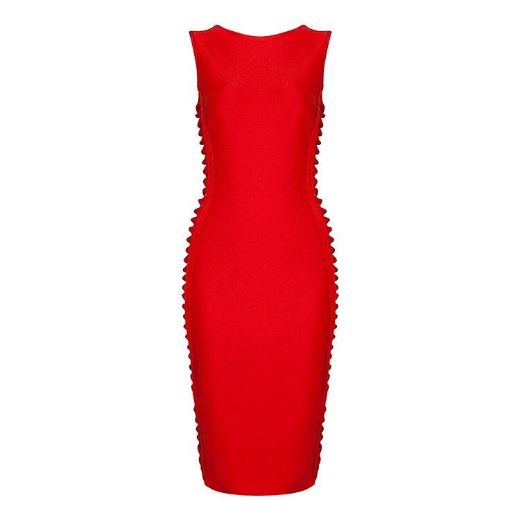 Robe Sans Rouge Bandage Dropshipping Gros O longueur Manches Sexy Genou orange Orange Évider D'été New En rouge Cou Noir Femmes Noir 2016 qwxPXAIq