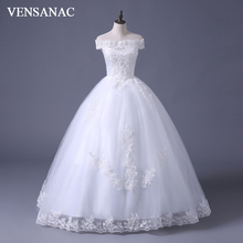 VENSANAC 2017 Free Shipping New A Line Lace Sweetheart Short Sleeve White Satin font b Bridal