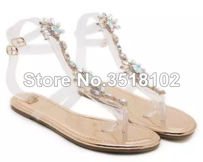 bc5f5ab7a86569 ... Thong Rhinestones Woman Gladiator Shoes Flops Crystal 43 Chains Women  Sandals Sandals 2018 Flat Sandals Flip ...