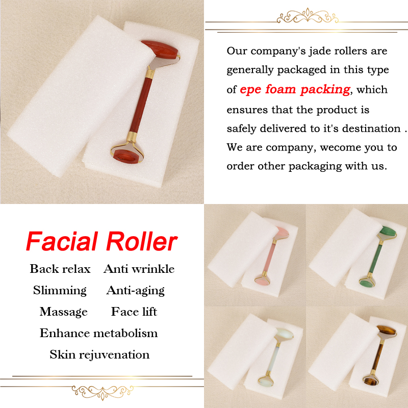 Купить с кэшбэком Obsidian Facial Massage Roller Double Head Jade Roller Slimming Anti Wrinkle Cellulite Face Beauty Natural Stone Tool