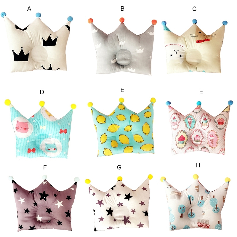 Baby Forming Pillow Cotton Pillow Prevent Flat Head Baby Cute Crown Shape Pillow Newborn Boy Girl Sleeping Bedding