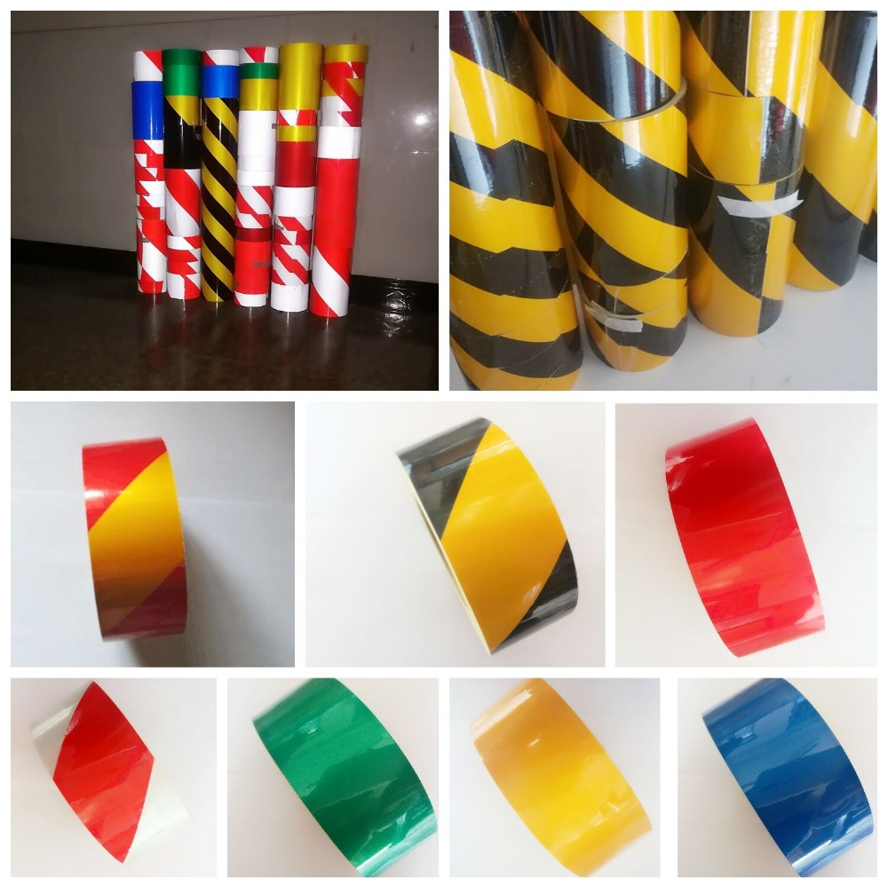 Black Yellow Red White Blue Green 5cm / 10/20 / 30cm Wide Reflective Film Warning With Safety Traffic Reflective Stic(China)