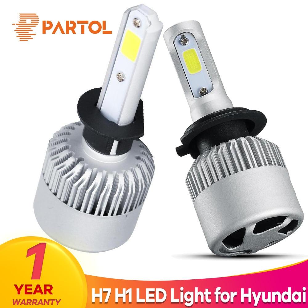 Partol S2 H7 H1 Car LED Headlight Bulbs 72W 8000LM COB LED Headlamp Fog Light 6500K 12V For Hyundai SONATA NFSONATA MOINCA i30