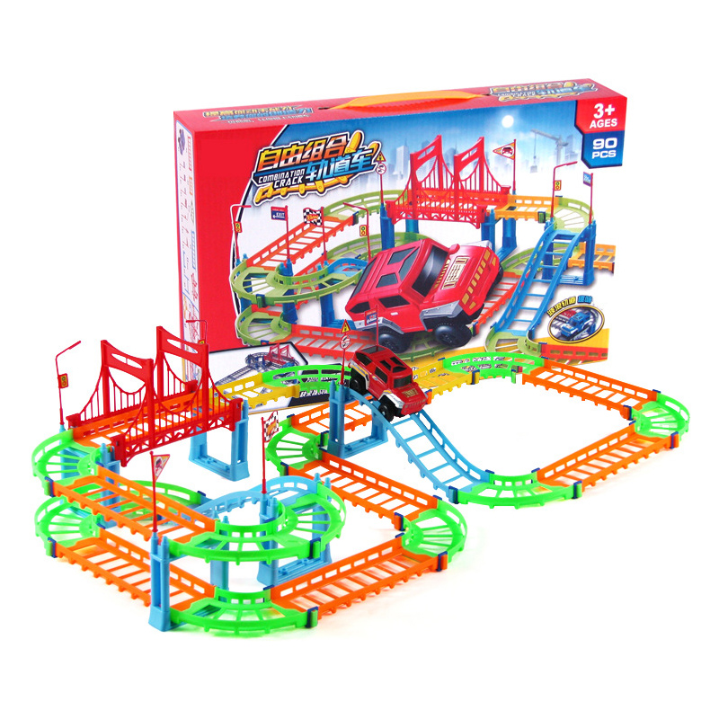 2018 DIY track race car new free car racing games for kids electrical toys