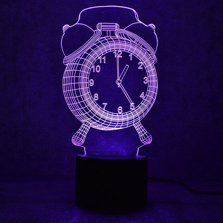 цена на 3D Alarm Clock Shape Bluetooth Speaker Led Night Light Novelty Music Table Lamp Creative 7 Colors Change Decoration Night Lamp