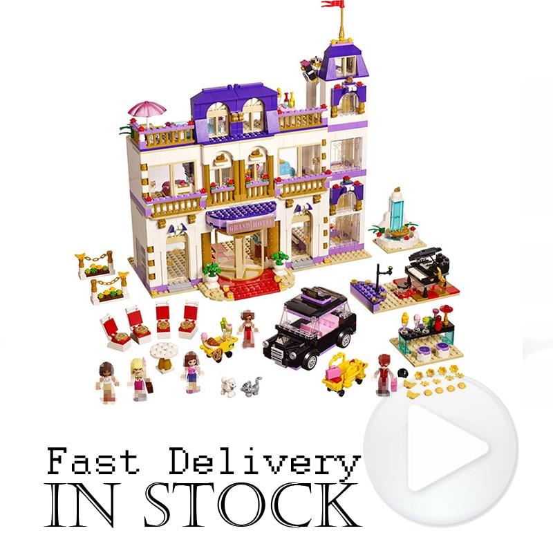LEPIN Girls Friends Heartlake Grand Hotel 01045 1676PCS Building Blocks Bricks toys for children gift brinquedo compatible 41101