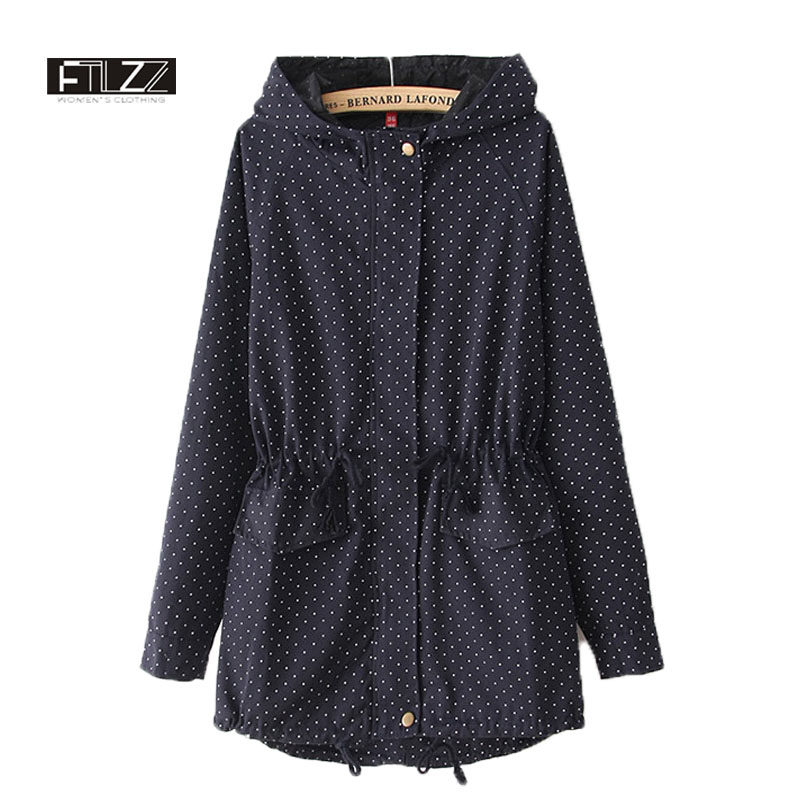Women Spring Autumn   Trench   Coat Casaco Feminino New 2018 Female Overcoat Fashion Woman Casual Dot Print Slim Long Windbreaker