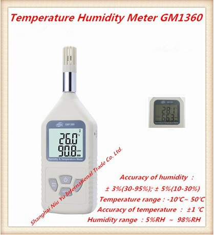 Electronic 2015 new digital thermometer hygrometer GM1360 Temperature range is -10 C-50 C  Humidity range is 5%RH  -98%RH digital indoor air quality carbon dioxide meter temperature rh humidity twa stel display 99 points made in taiwan co2 monitor