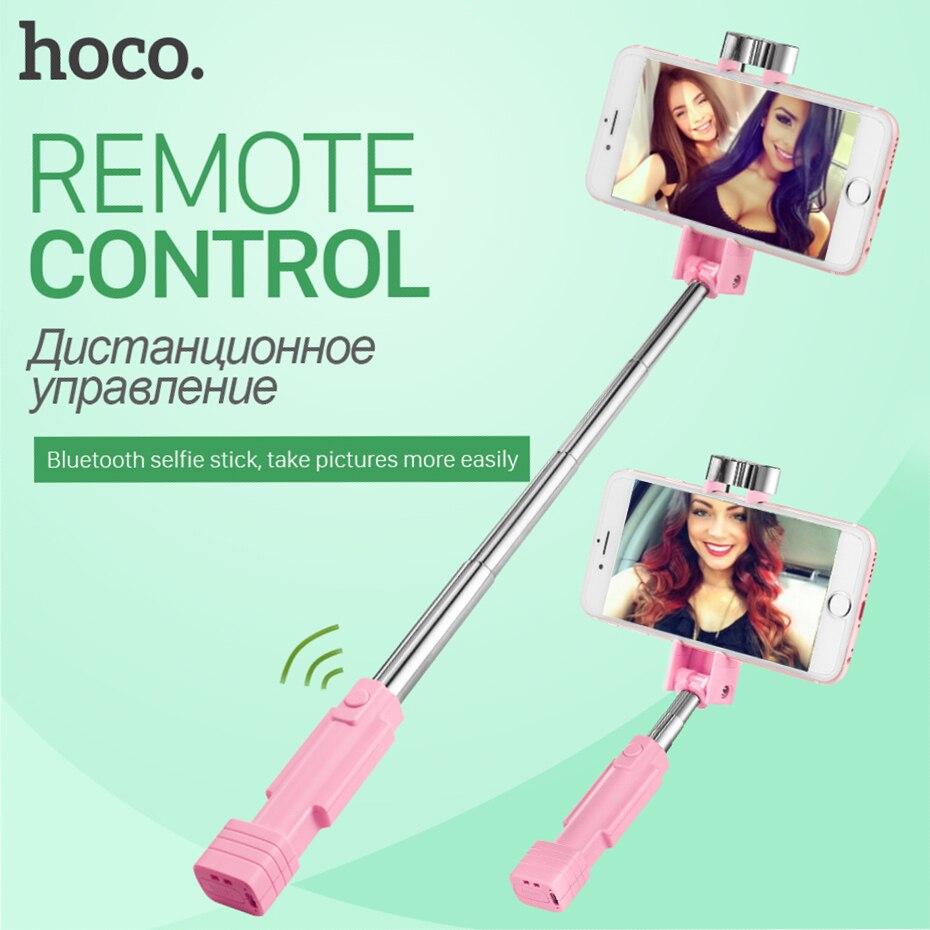 HOCO Universale Mini Bluetooth Selfie Stick Wireless Palmare Monopiede Allungabile Portatile Selfiestick Per iPhone Samsung Xiaomi