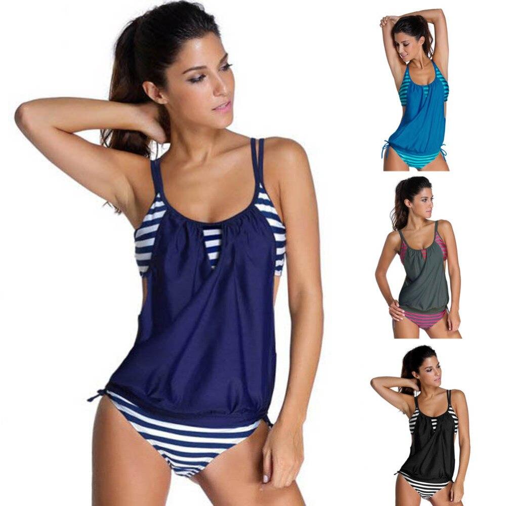 Nueva caliente retro rayas vintage tankinis o-cuello mujeres Tank push up traje de baño de deporte bañadores sexy traje de baño más tamaño vestido
