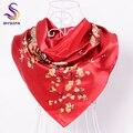 BYSIFA Lenços De Seda Vermelho China 90*90 cm Acessórios de Moda Mulheres Rosa Vermelha Chinês Hijab Cachecóis Primavera Outono Cetim Lenço quadrado