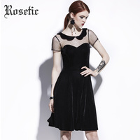 Rosetic Gothic Dress Summer Women Black A Line Casual Dresses Poly Spun Velour Hollow Goth Girl