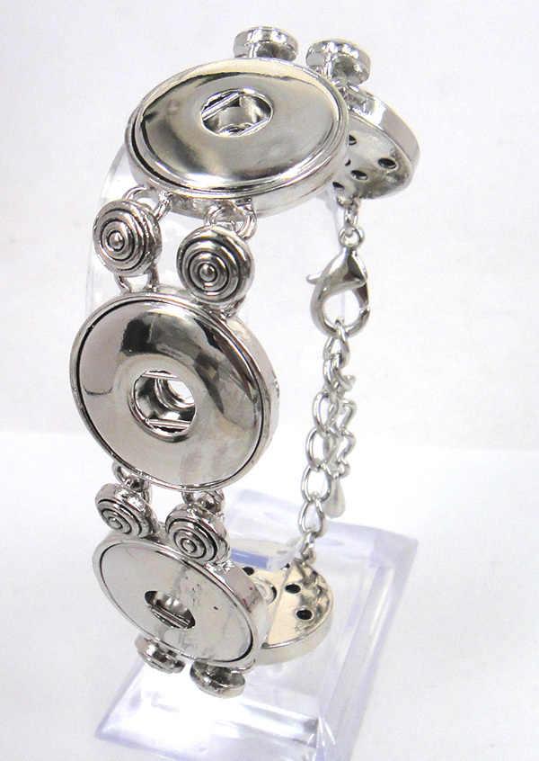 Libero della lega di trasporto cinque pezzi di metallo pulsante braccialetto di fascino diy misura per 1.8-2 cm di fascino dei monili di modo