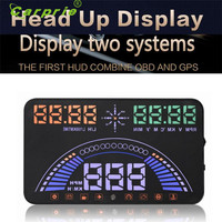 Nueva 5.8 Pulgadas S7 HUD Head Up Display Con Interfaz OBD2 Plug & Play KM/h MPH Advertencia de Exceso De Velocidad Se Combinan OBD y GPS Sistema Freel Apri28