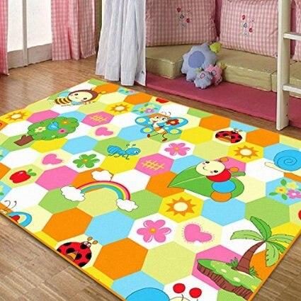 ,Cute Honeybee Kids Living Room Carpet,Elegant Colorful Rainbow Large Area Rugs,Sweet Flowers Girls Room Floor Mat