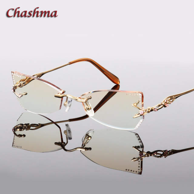 822bd19fb9 placeholder Chashma Brand Tint Lenses Sunglasses Titanium Eyewear Female  Diamond Crystal Trimmed Glasses Frame Cat Eye Rimless
