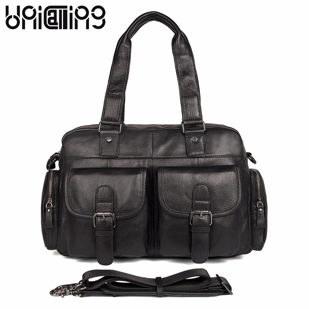 UniCalling New style Unisex cow leather contain 14 inch laptop bag Retro messenger bag men leather large capacity men handbag messenger bag men leather unicalling fashion quality cowhide genuine leather men bag casual men leather bag laptop bag 14 inch