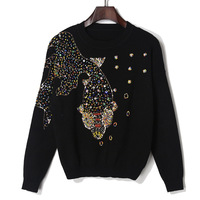 Fashion Heavy Bending Sequin Knitted Sweater Women Tops Loose Knitwear Women Sweater Spring Autumn New Jumpers Ladies Pull Femme