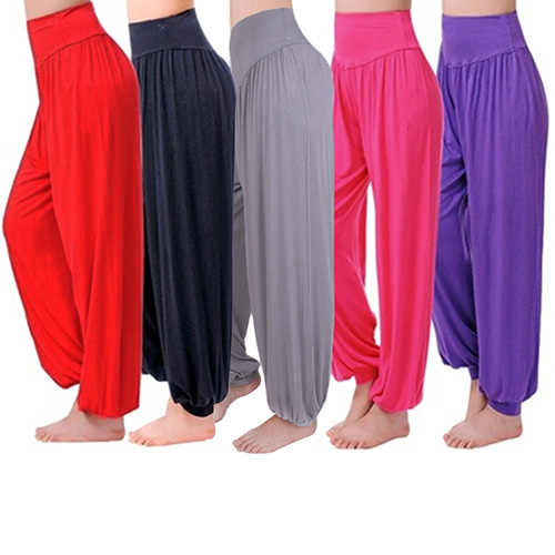 Women's Comfy Harem Loose Long Pants Belly Dance Boho  Wide Trousers