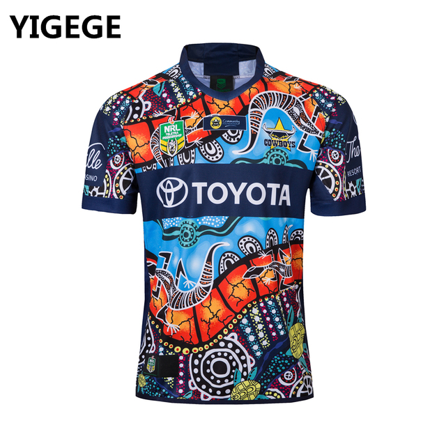 YIGEGE 2018 North Queensland Cowboys INDIGENOUS rugby Jerseys League shirt  nrl Jersey COWBOYS indigenous shirts s-3xl 9eff45857