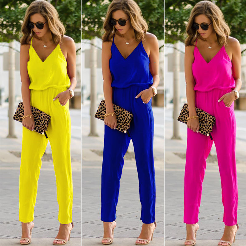 Hot Selling Womens Casual Jumpsuits Spaghetti Strap V Neck Summer Wide Leg Casual Jumpsuit Romper Trousers Clubwear