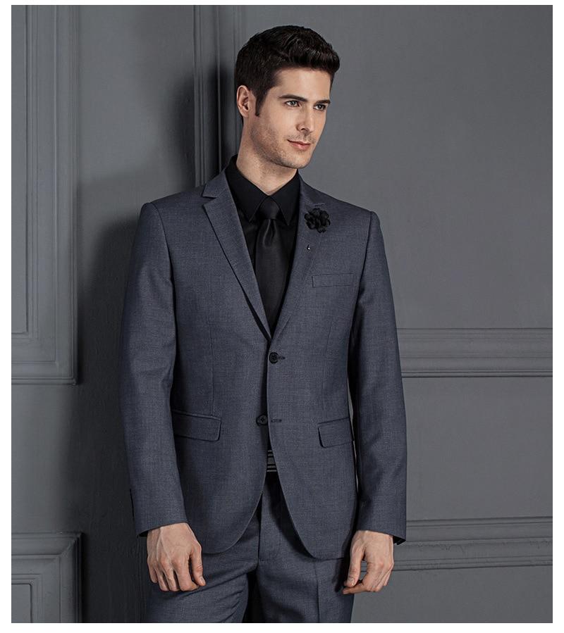 Пиджак + брюки) на заказ приталенный деловой костюм Homme Классический две пуговицы черный серый синий свадебный костюм жениха смокинг