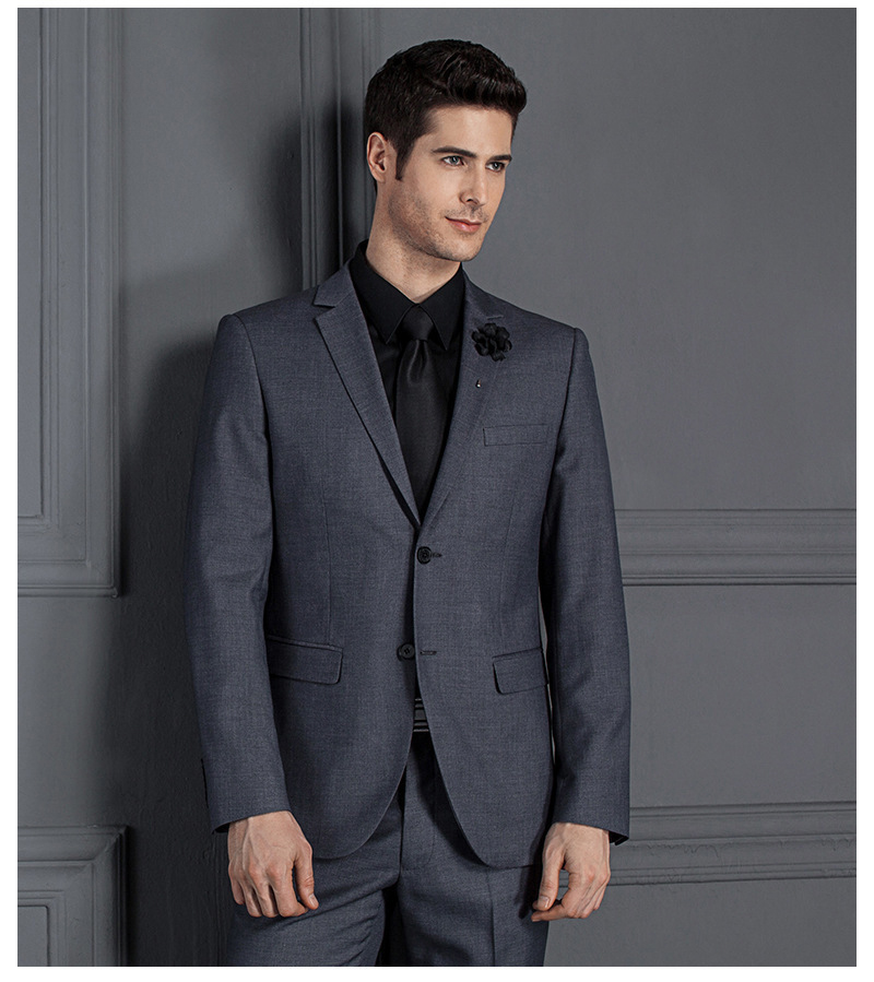 Jacket+pants) Custom Slim Fit Business Formal Suits Costume Homme Classic Two Buttons Black Gray Blue Wedding Groom Suits Tuxedo