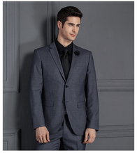Jacket+pants) Custom Slim Fit Business Formal Suits Costume Homme Classic Two Buttons Black Gray Blue Wedding Groom Tuxedo