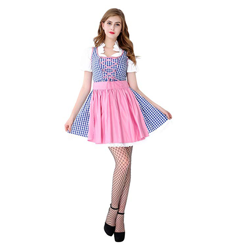 Maid Adult Women's Oktoberfest Native Costume Bavaria Beer Festival Girl Daily Dress 3 Piece Wench Heidi  Halloween Costumes