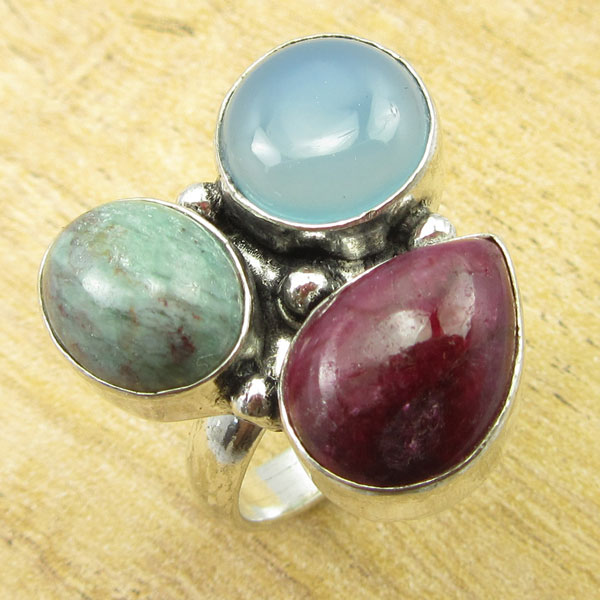 Silver Plated BLUE CHALCEDONY, RUBY, SIMULATED rubys ZOSITE Ring Size 7.25