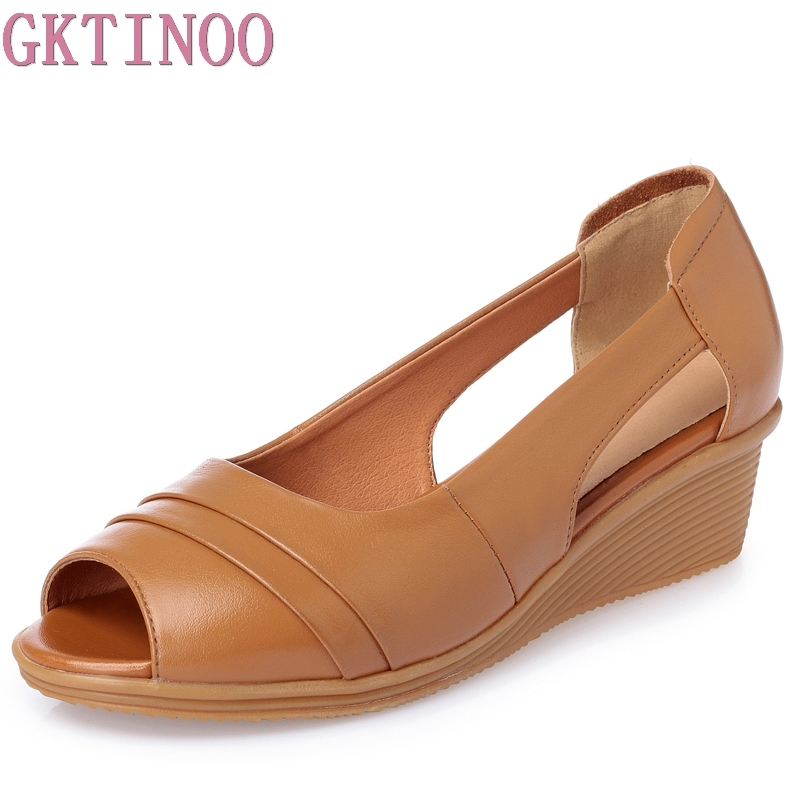 GKTINOO 2018 Summer Women Shoes Woman Genuine Leather Sandals Open Toe Mother Wedges Casual Sandals Women Sandals Plus Size aiyuqi2018 new genuine leather women summer sandals comfortable fish casual mouth plus size 41 42 43 mother sandals shoes female