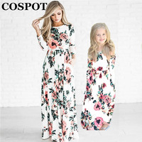 COSPOT Mother And Daughter Beachwear Long Dress Girls And Mom Bohemian Long Sleeved Floral Dress Princess