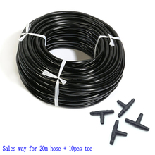 "20m 4/7 Mm Hose + 10 Pcs Tee Connector Garden Irrigation System Accessories Wear Black 1/4 ""hose Watering Pipe"