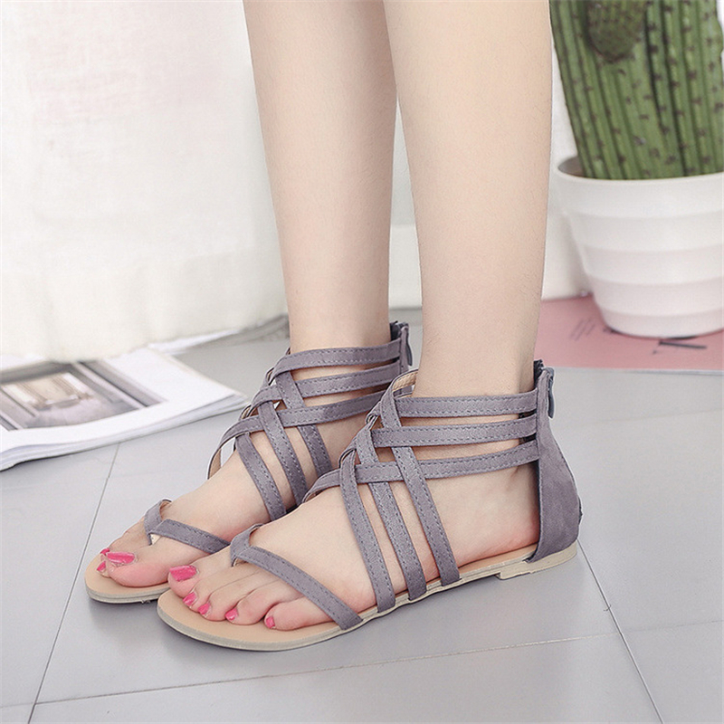 Plus Size 34-43 Flats Summer Women Sandals 2018 New Fashion flat leather Casual Shoes For Woman shoes sandals for female forudesigns fashion women flat shoes female teens girls floral print casual flats breathable walking shoes for woman plus size