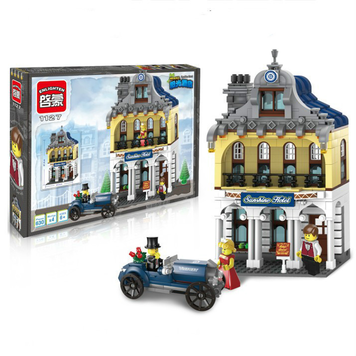 все цены на Enlighten Sunshine Hote Holiday Inn Antique Car Giocattoli Bricks Building Block sets Kids Toys Compatible With Legoe China онлайн