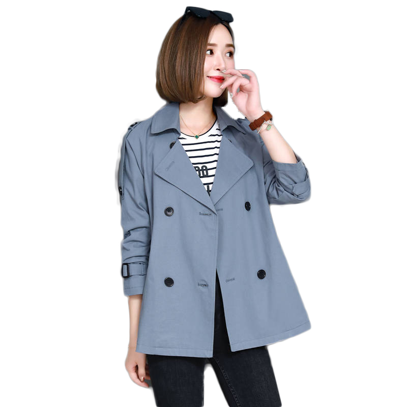 2019 Spring Autumn Women Short Windbreaker Ladies Loose Turn-Down Collar   Trench   Coat Long Sleeve Double-Breasted Outerwears M174