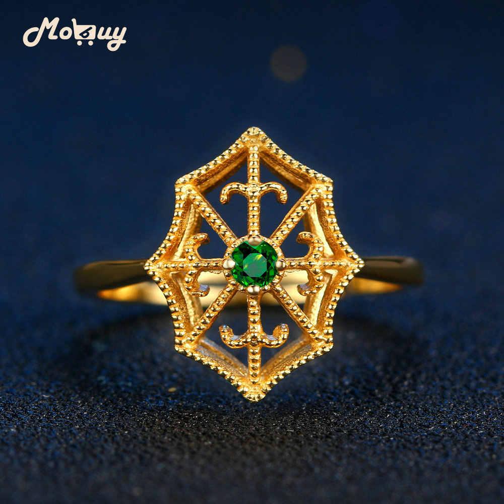 MoBuy MBRI050 Spider สุทธิธรรมชาติอัญมณี Emerald แหวน 925 เงินสเตอร์ลิง 14K Gold Plated เครื่องประดับสำหรับผู้หญิง